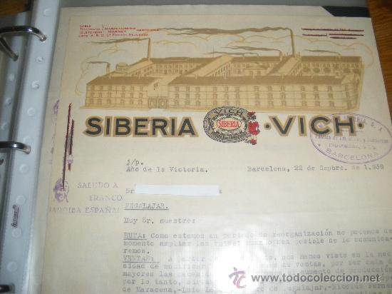 FABRICA DE CONSERVAS, SIBERIA VICH. BARCELONA 1939. GUERRA CIVIL. (Coleccionismo - Documentos - Cartas Comerciales)