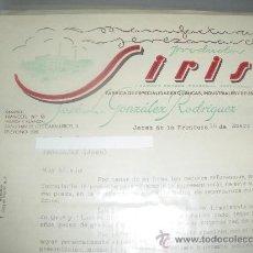 Cartas comerciales: MANUFACTURAS JEREZANAS DE PRODUCTOS SIRIS. JEREZ DE LA FRONTERA 1953.. Lote 56524132