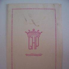 Cartas comerciales: MINUTA GRAND HOTEL PRINCIPE - VENEZIA , 1962 (EN FRANCES) . Lote 21598817