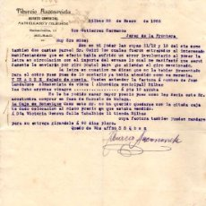 Cartas comerciales: BILBAO. 1926. CARTA COMERCIAL DE AGENTE COMERCIAL. TIBURCIO AZCONOVIETA.. Lote 16067647