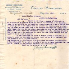 Cartas comerciales: BILBAO. 1926. CARTA COMERCIAL DE AGENTE COMERCIAL. TIBURCIO AZCONOVIETA.. Lote 17638484