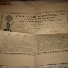 Cartas comerciales: CARTA DE AGREGACION A LA COFRADIA DEL SANTISIMO SACRAMENTO ERIGIDA EN LA SANTA IGLESIA CATEDRAL LUGO. Lote 18581301