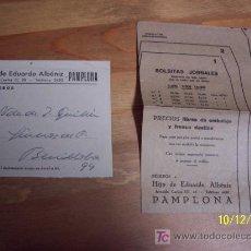 Cartas comerciales: HIJOS DE EDUARDO ALBÉNIZ-PAMPLONA-PEQUEÑA CARTA COMERCIAL OFRECIENDO: BOLSITAS JORNALES( UNA MUESTRA. Lote 16332528