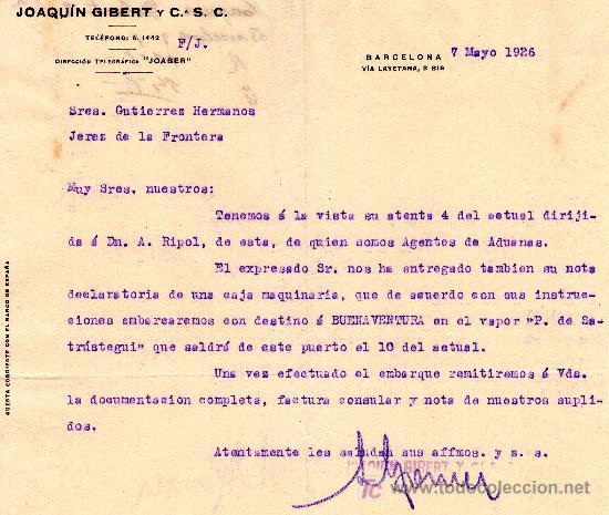 Carte Csc Barcelone.Barcelona 7 De Mayo 1926 Carta Comercial Joaquin Gibert Y C S C
