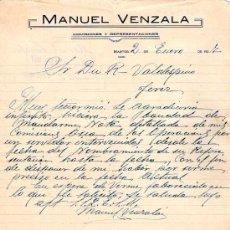 Lettere commerciali: MARTOS ( JAEN). 1927. CARTA COMERCIAL DE COMISIONES Y REPRESENTACIONES. MANUEL VENZALA.. Lote 16852699