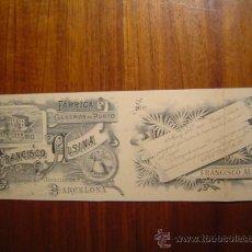 Cartas comerciales: TARJETA DE VISITA + AVISO VISITA VIAJANTE - FABRICA PUNTO FRANCISCO ALSINA - 1895 - MASNOU BARCELONA. Lote 26632932