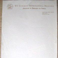 Cartas comerciales: VI CONGRESO INTERNACIONAL BELENISTA. CARTA..... ENVIO GRATIS¡¡¡. Lote 17759565