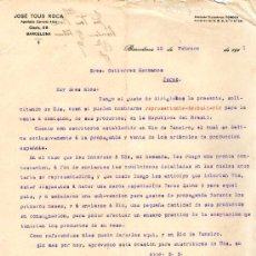 Cartas comerciales: BARCELONA. 1915. CARTA COMERCIAL DE JOSE TOUS ROCA.. Lote 17990973