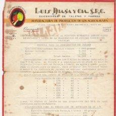 Cartas comerciales: LUIS DIANA Y CIA. S.R.C. -CARCAGENTE *SUCESORES DE TALENS Y FERRER. Lote 18099349