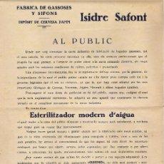 Cartas comerciales: FABRICA DE GASSOSES Y SIFONS DE ISIDRE SAFONT - CALDES DE MONTBUY AÑY 1.930. Lote 18100006
