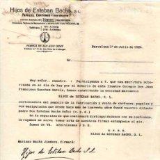 Lettres commerciales: BARCELONA. 1924. CARTA COMERCIAL DE PAPELES, CARTONES. HIJOS DE ESTEBAN BACHS, S. L.. Lote 18168572