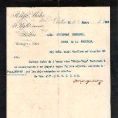 Cartas comerciales: BILBAO. 1909. CARTA COMERCIAL DE BODEGAS EN HARO. F. UGALDE, COSECHERO. RIOJA MEDOC.. Lote 18685176