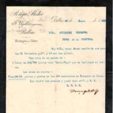 Cartas comerciales: BILBAO. 1909. CARTA COMERCIAL DE BODEGAS EN HARO. F. UGALDE, COSECHERO. RIOJA MEDOC.. Lote 18685193