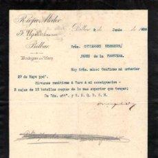 Cartas comerciales: BILBAO. 1909. CARTA COMERCIAL DE BODEGAS EN HARO. F. UGALDE, COSECHERO. RIOJA MEDOC.. Lote 18685204