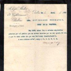 Cartas comerciales: BILBAO. 1910. CARTA COMERCIAL DE BODEGAS EN HARO. F. UGALDE, COSECHERO. RIOJA MEDOC.. Lote 18685215