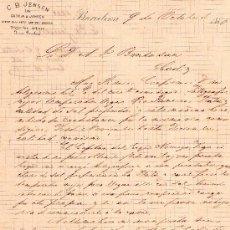 Cartas comerciales: BARCELONA 9 DE OCTUBRE DE 1880.CARTA COMERCIAL C.B. JENSEN LATE GARCIA&JENSEN . Lote 18632161