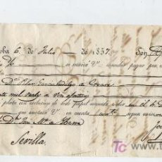 Cartas comerciales: LETRA DE CAMBIO POR 20.000 REALES DE VELLÓN. CÓRDOBA 1857. PAGADERA EN SEVILLA. MEMBRETE J.D.L.T.. Lote 18753081