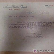 Cartas comerciales: CARTAGENA 5 ABRIL 1927. CARTA COMERCIAL DE ANTONIO GALLUD PARODI, AGENTE COMERCIAL COLEGIADO.. Lote 18999724