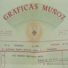 Cartas comerciales: + ZARAGOZA GRAFICAS MUÑOZ AÑO 1959 ANTIGUA FACTURA. Lote 19183349