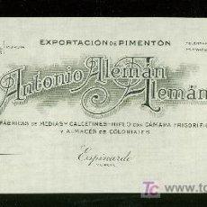 Cartas comerciales: MEMBRETE COMERCIAL. ANTONIO ALEMAN ALEMAN. ESPINARDO. MURCIA. . Lote 19255666