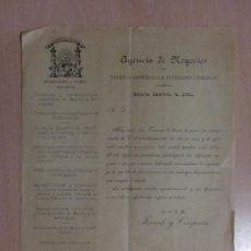 Cartas comerciais: CARTA COMERCIAL FERRANDO Y CIA. MADRID. AGENCIA DE NEGOCIOS. DEFENSA COMERCIAL E INTERESES PUBLICOS.. Lote 19297967