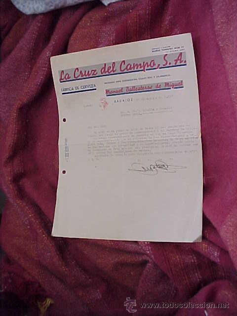 LA CRUZ DEL CAMPO. FABRICA DE CERVEZA. CARTA COMERCIAL. BADAJOZ 1940. (Coleccionismo - Documentos - Cartas Comerciales)