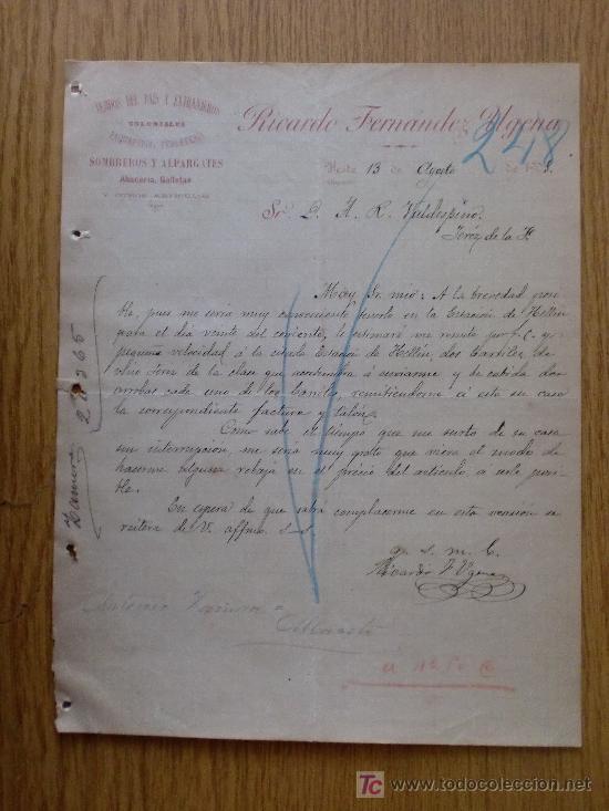 YESTE, ALBACETE 1905. CARTA COMERCIAL DE RICARDO FERNANDEZ UGENA. PAQUETERIA, FERRETERIA. (Coleccionismo - Documentos - Cartas Comerciales)