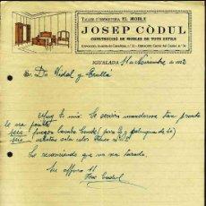 Cartas comerciais: CARTA COMERCIAL DE JOSEP CODUL, TALLER D EBANISTERIA D IGUALADA. Lote 19453591