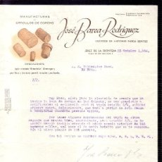 Cartas comerciales: CARTA COMERCIAL. JOSE BAREA RODRIGUEZ. MANUFACTURAS. VALDESPINO. JEREZ. OCTUBRE 1954.. Lote 20648555