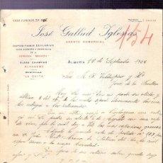 Cartas comerciales: CARTA COMERCIAL. JOSE GALLUD IGLESIAS. AGENTE COMERCIAL. VALDESPINO. JEREZ. ALMERIA, 1926 SEPT.. Lote 20691340