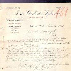 Cartas comerciales: CARTA COMERCIAL. JOSE GALLUD IGLESIAS. AGENTE COMERCIAL. VALDESPINO. JEREZ. ALMERIA, 1926 NOVIEM.. Lote 20691362