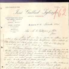Cartas comerciales: CARTA COMERCIAL. JOSE GALLUD IGLESIAS. AGENTE COMERCIAL. VALDESPINO. JEREZ. ALMERIA, 1926 NOVIEM.. Lote 20691412