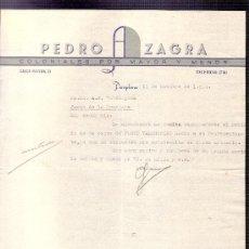 Cartas comerciales: CARTA COMERCIAL. PEDRO ZAGRA. COLONIALES. VALDESPINO. JEREZ. PAMPLONA, OCTUBRE 1954.. Lote 20967564