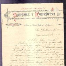 Cartas comerciales: CARTA COMERCIAL. SANCHEZ Y RODRIGUEZ. TALLER TONELERIA. GUTIERREZ HNOS. JEREZ. 1900, JUNIO.. Lote 20968316