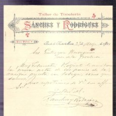 Cartas comerciales: CARTA COMERCIAL. SANCHEZ Y RODRIGUEZ. TALLER TONELERIA. GUTIERREZ HNOS. JEREZ. 1900, MAYO.. Lote 20968352