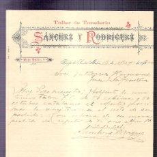 Cartas comerciales: CARTA COMERCIAL. SANCHEZ Y RODRIGUEZ. TALLER TONELERIA. GUTIERREZ HNOS. JEREZ. 1900, MAYO.. Lote 20968388