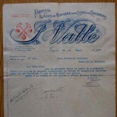 Cartas comerciales: CARTA COMERCIAL. GIJON 1927. FABRICA DE LLAVES DE ALAMBRE PARA LATAS. F. VALLE. . Lote 21284153