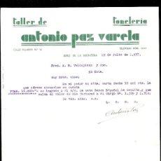 Cartas comerciales: CARTA COMERCIAL. MEANA Y PAZ. TALLER TONELERIA. JEREZ. VALDESPINO Y HNO. 1937, JULIO.. Lote 21287384