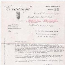 Cartas comerciales: SEGUROS COVADONGA. MADRID 12 JUNIO 1936.. Lote 21342508