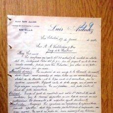 Cartas comerciales: CARTA COMERCIAL. SAN SEBASTIAN 1922. LUIS ARANAZ. FABRICA DE AGUARDIENTES Y LICORES.. Lote 21387967