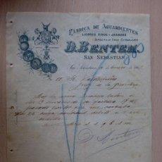 Cartas comerciales: CARTA COMERCIAL. SAN SEBASTIAN 1901. FABRICA DE AGUARDIENTES. LICORES FINOS. D. BENTEM.. Lote 21943813