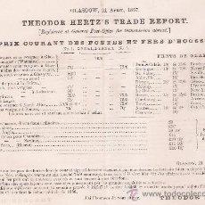 Cartas comerciales: THEODOR HERTZ´S TRADE REPORT. PRIX COURANT DES FONTES ET FERS D´ECOSSE. GLASGOW 21 APRIL 1857.. Lote 22357303