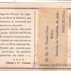 Cartas comerciales: PUBLICIDAD FARMACIA - HIPOPOSFITO SALUD- POSTAL CON SELLO DE 1/4. VER DETALLES- VELL I BELL. Lote 24078121