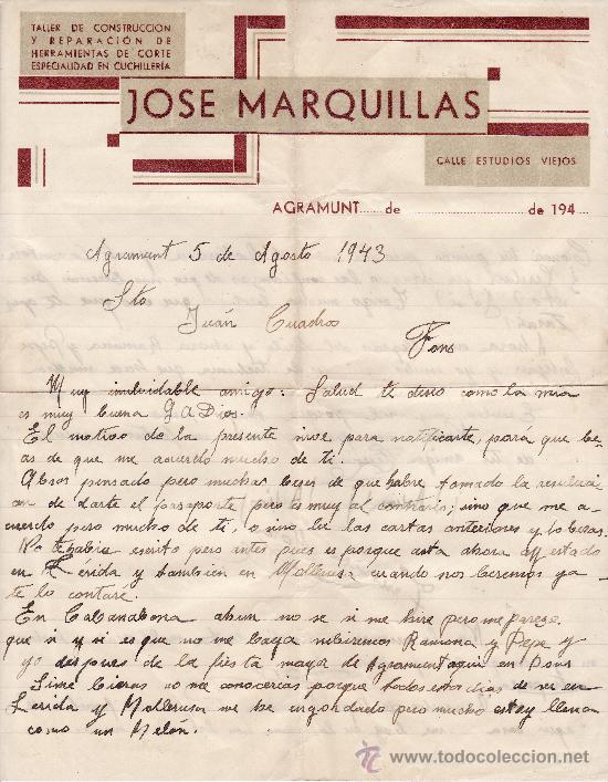 JOSE MARQUILLAS 1940 AGRAMUNT (Coleccionismo - Documentos - Cartas Comerciales)