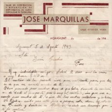 Cartas comerciales: JOSE MARQUILLAS 1940 AGRAMUNT . Lote 24457985