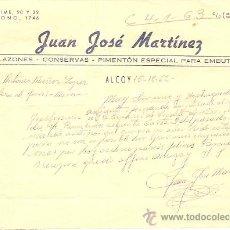 Cartas comerciales: JUAN JOSE MARTÍNEZ - SALAZONES, CONSERVAS Y PIMENTÓN - ALCOY AÑO 1962. Lote 24680902