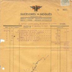 Cartas comerciales: SUCESORES DE NOGUÉS - IMPRENTA Y PAPELERIA - MURCIA - AÑO 1946. Lote 24681036