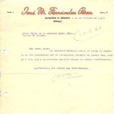 Cartas comerciales: JOSÉ M. FERNÁNDEZ PÉREZ - ALHAURIN EL GRANDE (MÁLAGA) - AÑO 1961. Lote 24681321