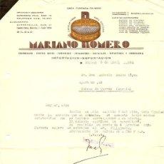 Cartas comerciales: MARIANO ROMERO COLONIALES, CONSERVAS, SARDINAS - BILBAO - AÑO 1964. Lote 24681349