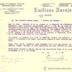 Cartas comerciales: EMILIANO NAVAJAS - FABRICA DE CONSEVAS - ALFARO (RIOJA) - AÑO 1960. Lote 24681374